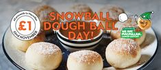 Snowball Dough Ball Day is back! Tuck into a portion of fluffy dough balls and do your bit for charity – all proceeds go to Macmillan Cancer Support. Dough Balls, Vanilla Cream, Snowball, Wednesday, Dip, Icing, Caramel, November