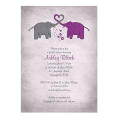 Purple and Grey Elephant Bridal Shower Invitation
