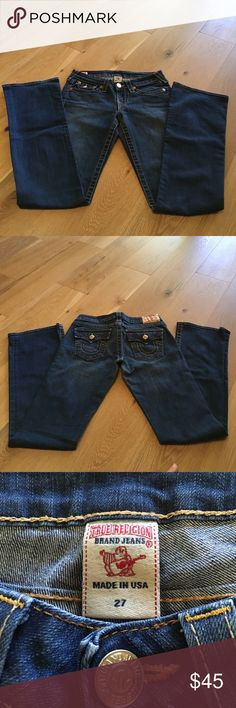 True Religion boot cut/mid flare jeans True Religion boot cut/mid flare jeans. Great condition, only worn a few times. Waist is 14.5 inches and length is 42 inches. Inseam is 32 True Religion Jeans Flare & Wide Leg