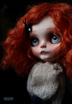 Ooak Custom Blythe Art Doll Ginger Base doll RBL ( factory ) Lovely Red Carrot mohair weft onto her scalp( glued ) - Mouth & nostril carved - New make up sealed with MSC - painted eyelids - eyebrows - little freckles - 3 new eyeships & 1 stock - boggled & gaze corrected - Sleepy eyes , new