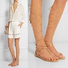 Women Gold/Silver Lace Up Strappy Tassel Knee High Roman Gladiator Sandals Flats