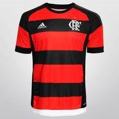 Camisa Adidas Flamengo I 2015 s/n° - Vermelho+Preto