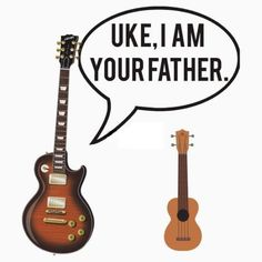 Uke I Am Your Father – Guitar pun gift. This punny gift is perfect for anybody who is a fan of a guitar, ukulele, Star Wars, Darth Vader, Luke Skywalker, or just a music lover in general. Available as a pun shirt, mug, pillow, bag, birthday card, stationery, cellphone case, laptop skin, wall art and more! #pun #funny #gift #guitar #starwars