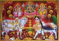 Hindu Divine Cow Kaamdhenu ~ Laxmi Saraswati Ganesha . Shiva Parvati Images, Lakshmi Images, Shiva Hindu, Hindu Rituals, Lord Krishna Images, Hindu Deities, Hindu Art, Indian Gods, Indian Art
