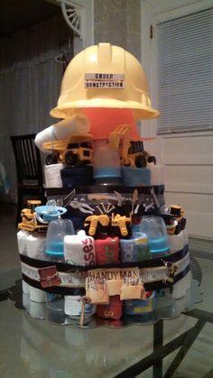 """Under Construction"" diaper cake"