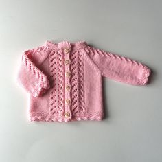 Light pink baby christening jacket knitted baptism lace by Tuttolv