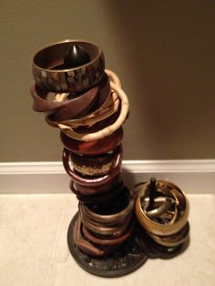 Paper towel holder...makes a great way to store bangle bracelets