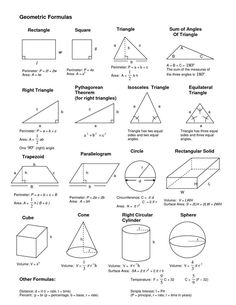 Geometrical formulas geometric formulas, geometric shapes, m Math Vocabulary, Maths Algebra, Ap Calculus, Geometric Formulas, Geometric Shapes, Math Formula Chart, Algebra Formulas, Physics Formulas, Math Cheat Sheet