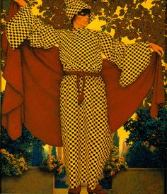 Maxfield Parrish (American, 1870–1966) | Masquerade | 1922 | Oil on board | 17 x 14 inches | Gift of Ruth Jernigan McGinty | 1998.87
