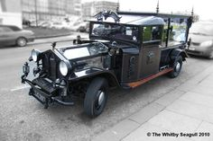 Very cool hearse from the Whitby Gotik Treffen in 2010 published by the Whitby Seagull. Take a look at the see through engine compartment! Holiday News, Holiday Park, Terminal Velocity, Whitby Abbey, Thing 1, Motor Car, Motor Vehicle, Emo Goth, Nerd Geek