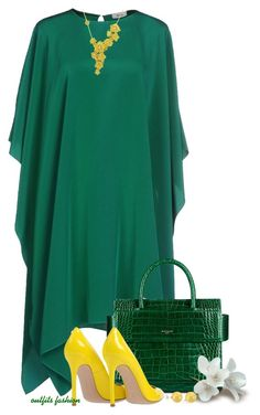 Green by outfitsfashion4 on Polyvore featuring moda, Issa, Gianvito Rossi, Carrera y Carrera, Lord & Taylor and Givenchy