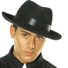 Shop Candy Apple Costumes for all the latest gangster costume accessories  like this beautiful black pinstripe hat for adults. 0ed630fd1bd