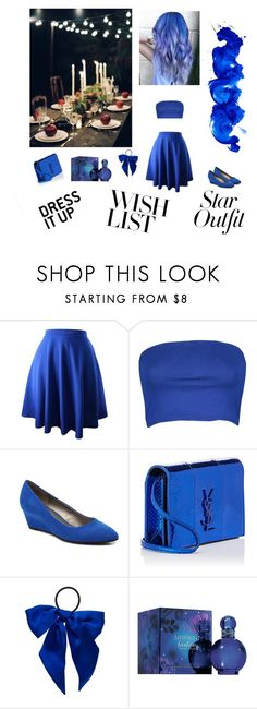 """Blue romantic date"" by ellilla ❤ liked on Polyvore featuring Boohoo, Bandolino, Yves Saint Laurent, L. Erickson and Britney Spears"