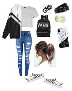 """SCHOOL"" by haileymagana on Polyvore featuring WithChic, Topshop, Hermès, Vans and Eos"