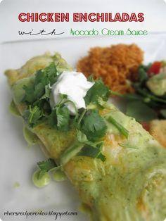 Chicken Enchiladas with Avocado Cream Sauce