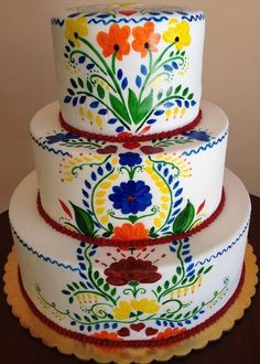 Hand Painted Wedding Cake – if only I were this artistic! Hand Painted Wedding Cake – if only I were Mexican Themed Weddings, Themed Wedding Cakes, Wedding Cake Decorations, Themed Cakes, Indian Weddings, Cake Wedding, Fondant Wedding Cakes, Fondant Cakes, Cupcake Cakes
