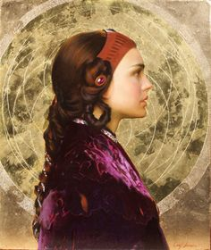 """""""Padme Resplendent with Naboo Mandala"""" painting by: Carl J. Samson: oil and gold leaf on panel"""