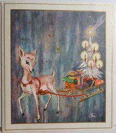 1960s Mid Century Pink Deer Pulls A Sleigh Vintage Christmas Card