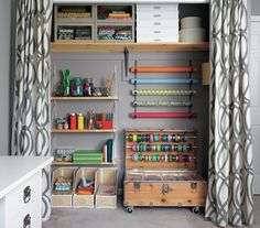 A cluttered, disorganized work space/craft room is transformed into three tidy zones that foster calm and creativity.