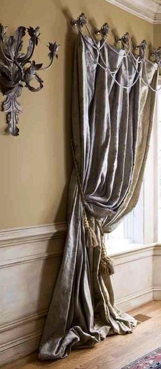 Architecture Decor | Curtains, Fabrics, Pillows & Rugs | Rosamaria G Frangini || Draped roping is an easy way to embellish a drapery. Trimming and custom draperies available DesignNashville