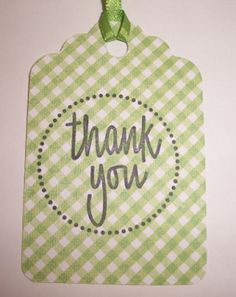 green gingham thank you tags