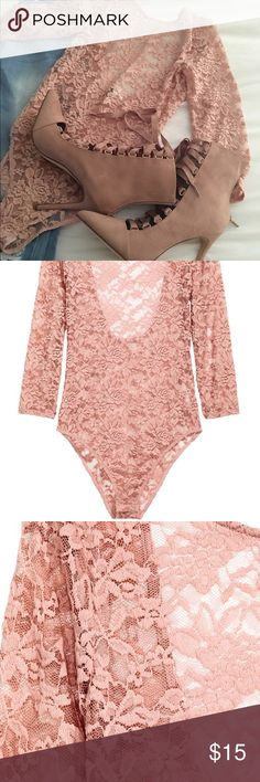 Blush Lace Bodysuit Sexy. Crotch snap Bodysuit. Slight stretch. Back out. Worn once. Looks brand new! Tops Blouses