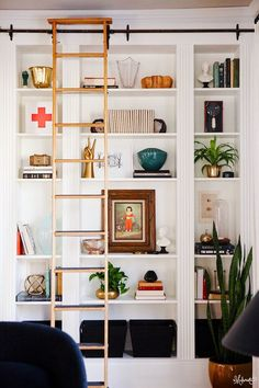 Don't you love finding IKEA hacks that are wildly functional and extremely good-looking? Kudos to this group of nine handy people changing things up with basic ikea products. Enjoy our picks for 9 Ikea Hacks. Ikea Bookcase, Bookshelves Built In, Built Ins, Billy Bookcases, Ikea Shelves, Wall Shelving, White Shelves, Bookcase With Ladder, Book Shelves