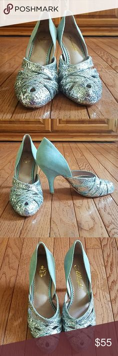 Miss Albright Anthropologie heels! NWOT Leather suede glitter goodness! Could make a perfect something blue! Never worn but tried on in my house! Miss Albright Shoes Heels