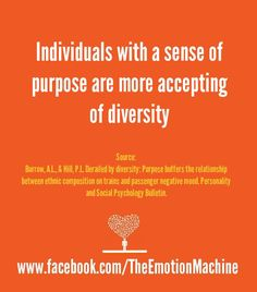 Individuals with a sense of purpose are more accepting of diversity. If you're secure in yourself and what you do, then it doesn't matter much what anyone else does.