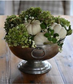 Pewter compote filled with small white pumpkins, hydrangea & snowberries Thanksgiving Decorations, Seasonal Decor, Fall Decor, Hydrangea Arrangements, Fall Arrangements, Small Pumpkins, White Pumpkins, White Pumpkin Centerpieces, Pumpkin Wedding