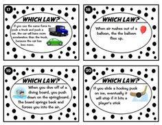 Newton's Laws of Motion Task Card Sort -Real World Examples, 24 cards