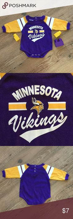 Minnesota Vikings long sleeve onesie Skol!  Long sleeve Minnesota Vikings onesie. Snaps at the back of the neck and crotch. Please ask any necessary questions prior to purchasing. No trades. Save even more with a bundle discount! One Pieces Bodysuits