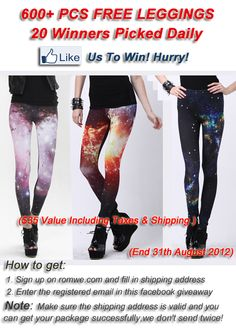 600+ PCS Free Leggings on FaceBook giveaway!!!  http://www.facebook.com/Romwe.Fashion/app_200328890006489
