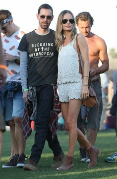 Kate Bosworth chose a scalloped white leather shorts set for 2013 Coachella Day One.