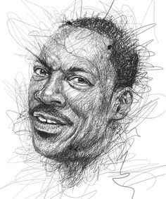 """""""Faces"""" is a series of celebrity portraits made of seemingly random scribbles, created by Malaysian illustrator Vince Low. via Designlov Vince Low's website Cool Pencil Drawings, Realistic Drawings, L'art Du Portrait, Pencil Portrait, Celebrity Drawings, Celebrity Portraits, Celebrity Faces, Vince Low, Art Du Monde"""
