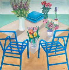 Summer table by Diana Dzene, oil in cancvas, 90cm x 90xm, made in 2021. #art #oilpainting #summertable #oiloncanvas #arte #pittura #peintre #tableaux #londonartbiennale2021 #saatchiartist #artsy #fineartsamerica #dianadzene #dianadzene #summer2021 #flowerspainting #bluechairs #greensea #love #artoftheday Oil On Canvas, Canvas Art, Art Day, Buy Art, Saatchi Art, Modern Art, Diana, Original Art, Blue Chairs