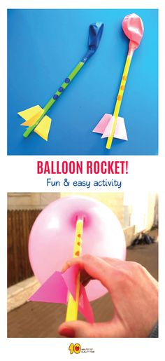 Balloon Straw Rocket for Kids 3, 2, 1 BLASTOFF!! Build this balloon rocket easily with the kids! Here's what you'll need - 1. A thick straw 2. Balloons 3. Scissors 4. Colorful paper 5. Pencil 6. Scotch tape Have fun!