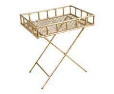 Mesa auxiliar con bandeja de metal - dorado | Westwing Home & Living