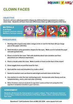 Self - Portrait Clown Faces. Easy and Profitable Art Fundraiser www.square1art.com