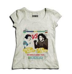 Camiseta Feminina Branca de Neve VS Jon Snow cb07d2633da57