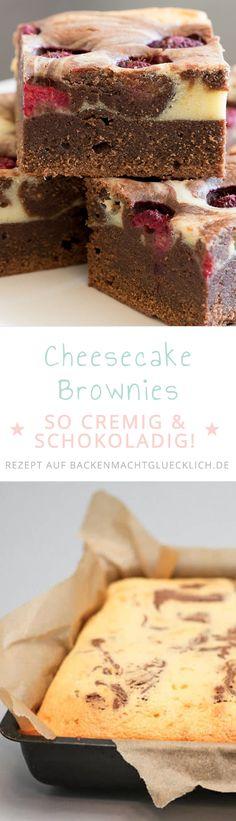 Unglaublich leckere Käsekuchen-Brownies, die einfach jeden begeistern! Cheesecake Brownies sind ein Mix aus üppigem Schokokuchen und cremigem Cheesecake-Topping - schmeckt pur, aber auch mit Himbeeren oder Kirschen.