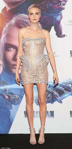 Make like Cara in a metallic mini dress by Atelier Versace #DailyMail
