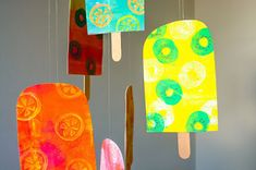 Printing with Gelli Arts®: Gelli® Printed Popsicle Mobile