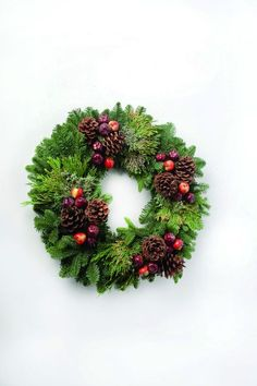 evergreen wreaths with branches and balls - Google Search