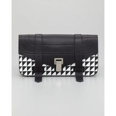 Proenza Schouler PS1 Pouchette Triangle-Print Clutch Bag, Black/White