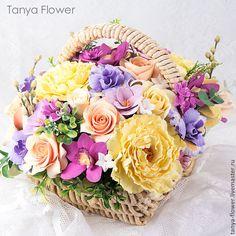 """Купить Букет в плетеной корзине """"Прованс"""" - цветы, цветы ручной работы, цветы из полимерной глины"""
