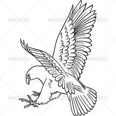 Buy Attacking Eagle by barbulat on GraphicRiver. The image is a vector illustration and can be used for different compositions. Vector Design, Web Design, Graphic Design, Eagle Animals, Eagle Drawing, Leather Working Patterns, Print Fonts, Folk Embroidery, Vector Graphics