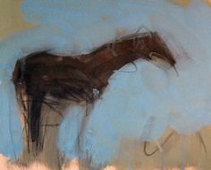 Solitary Horse 1992 9x10 by Theodore (Ted) Waddell - Original Painting | Oil and Charcoal on Paper | 9 x 10 inches | 23 x 25 cm