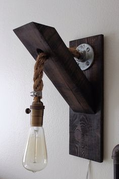 17 Simple and Magnificent Ways to Beautify Your Household Th.- 17 Simple and Magnificent Ways to Beautify Your Household Through Wood DIY Projects Wandleuchte - Industrial Furniture, Vintage Industrial, Vintage Wood, Industrial Design, Industrial Interiors, Industrial Office, Vintage Diy, Vintage Ideas, Modern Industrial