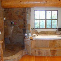 tub & doorless shower